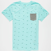 Shouthouse Geo Banks Mens Pocket Tee Mint  In Sizes