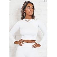 The Time Is Now White Ribbed Lounge Crop Top