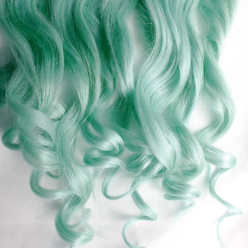 MINT Human Hair Extensions : Clip In Hair Extensions, Pastel Hair Extensions, Ombre Hair, Green Hair Extensions