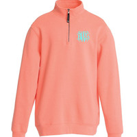 Monogrammed Quarter Zip, Monogram Sweatshirt, Monogram Sweater, Monogram Quarter Zip Pullover, Charles River Quarter Zip Pullover