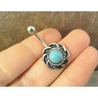 Round Turquoise Silver Belly Button Ring Jewelry