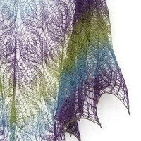 Peacock hand knit  lace shawl  purple blue green by Sissta on Etsy