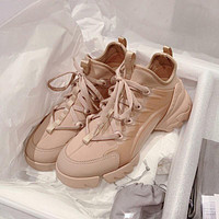 Dior New thick-soled casual all-match increased running sneakers Shoes Khaki
