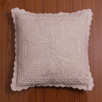 HANDMADE CROCHET Cushion Cover, Pillow case, Decorative Throw Pillow, Home Decor - White and Natural Color, Galaxy Design Theme