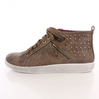Taupe Side Studded Lace Up Sneakers Faux Suede