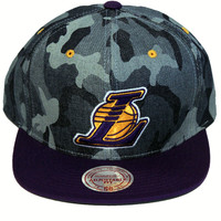 Los Angeles Lakers Blue Denim Camo Snapback