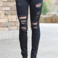 Kan Can Distressed Skinny Jeans (Black)
