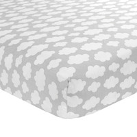 Carter's Sateen Grey Cloud Crib Sheet