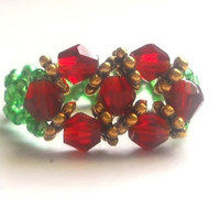 Holiday Emerald Green and Red Swarovski Ring