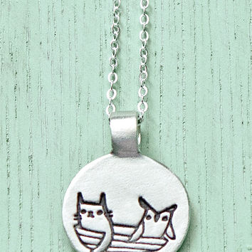 Silver Owl and the Pussycat Necklace