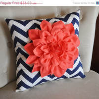 BLACK FRIDAY Etsy SALE Coral Dahlia on Navy and White Zigzag Pillow -Chevron Pillow-