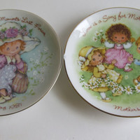 2 plates Cherished Moments Last Forever  Love is a Song For Mother Inspirational Quotes Mothers Day Plates Avon Collectible Plates 1981 1983