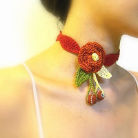 Women's Choker Necklace, Crochet Cotton Yarns, Romantic Orange Flower, Red Petals, Green and Yellow Leaves,Beads - Custom Order