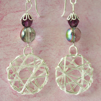 Silver Wire Wrapped & Amethyst Bead Earrings / French Wire / Handmade Beaded Earrings / Fashion Jewelry