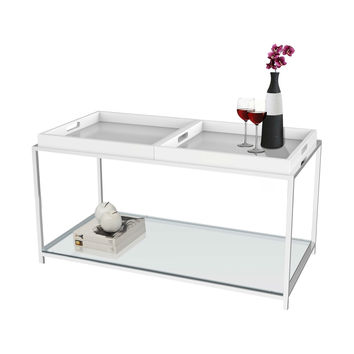 Tempered Glass Top Metal Coffee Table with White Removeable Trays