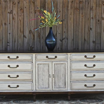Antique White Dresser/ Vintage/ Rustic Wood Furniture/ Buffet/ TV Stand/ Storage/ Dining Room Furniture/ Distressed /Tv stand