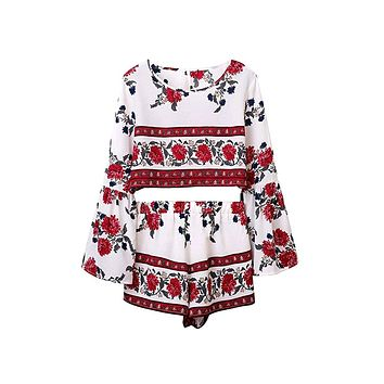 After Life White Red Blue Grey Floral Long Bell Sleeve Scoop Neck Crop Backless Two Piece Short Romper Playsuit