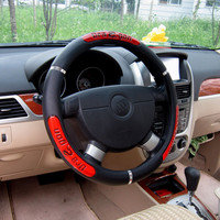 Drangon Design Faux Leather Auto Car Steering Wheel Cover 38CM/15'' Anti-catch Holder Protector