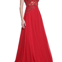 PRIMA 17-2055 V Neck Lace Applique A-line Prom Dress Evening Gown