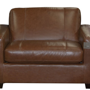 Rubicon Chair Leather Sleeper Sofa by Natuzzi Editions with Greenplus Foam Mattress in Matera Chestnut