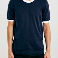 Navy/Off White Knitted Ringer T-Shirt - New This Week - New In
