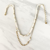 Second Chance Gold Layered Necklace in Ivory