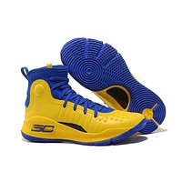 Under Armour Men's SC30 Stephen Curry 4 Yellow/Blue Sport Sneaker