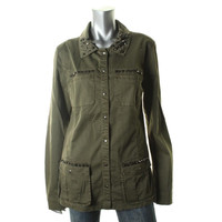 Guess Womens Twill Studded Military Jacket