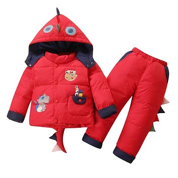 New Pattern Baby Boy And Baby Girl Children Down Jacket Suit Coat Dinosaur Cartoon Thick Winter For 0-6Y Baby In Autumn