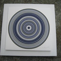 Chemistry and Physics inspired Art. Concentric circles, vinyl record pattern. limited edition giclee, Particle Rings Blue 1a