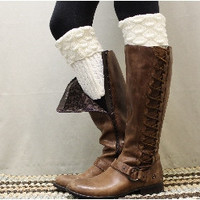 Boot cuff, cuffs, topper, boot cuff socks, tall boot socks,SPICE SCALLOP vanilla knit | BC2