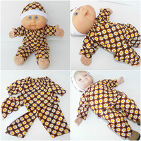 """Cabbage Patch Clothes, BITTY BABY DOLL Clothes,  fits 14-15"""" dolls - brown sunflower pants shirt & hat"""