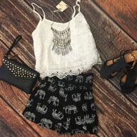 Lace Crop Top: White