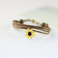 Antique Ceramic Flower Charm Bracelet Jewelry 5 Colors Gift Case Packing