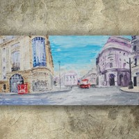 View: LONDON palette knife painting 60x120x4 cm Large painting S039 OOAK beige blue decor original big art ready to hang painting acrylic on stretched canvas wall art by artist Ksavera | Artfinder