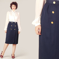80s Balmain Navy Tube Skirt / Double Buttoned Wool Blue Designer Skirt / Nautical Pin Up Medium MSkirt