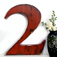Wooden Number 2 (Pictured in Brick ( Pine Wood Sign Wall Decor Rustic Americana French Country Chic