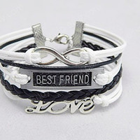 Silver Anchor bestfriend And Infinity Wish Bracelet white Wax Cords Black Braided Leather Vintage Style Bracelet Cute Personalized Jewelry