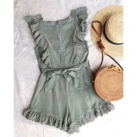 Just the Cutest Ruffled Eyelet Romper in Olive