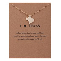 Map State Card Alloy Clavicle Pendant Necklace  171208
