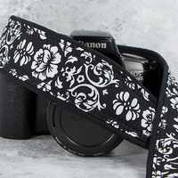 Black & White Floral Damask, dSLR Camera Strap, SLR, 21w