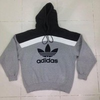 Vintage Adidas hoodie 90's / Sewn black Trefoil Pullover / Black & Gray colour / Hip H