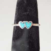 Beautiful Bright Blue Double Heart Designed Ring , Size 6 3/4, Silver 925