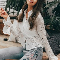 Embroidered cotton white blouse shirt top Vintage women blouses and tops Hollow out female long sleeve blouse