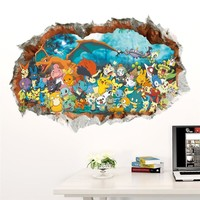 3D Cartoon Pokemon Pikachu Wall Decal Stickers Room Decor
