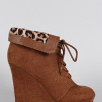 Women's Qupid Suede Leopard Collar Round Toe Lace Up Wedge Booties
