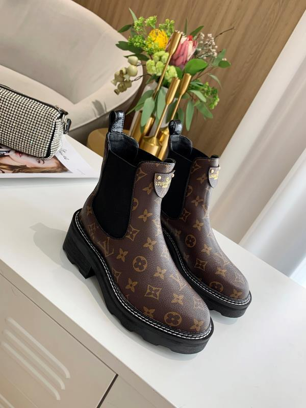 Image of lv louis vuitton trending womens black leather side zip lace up ankle boots shoes high boots 227