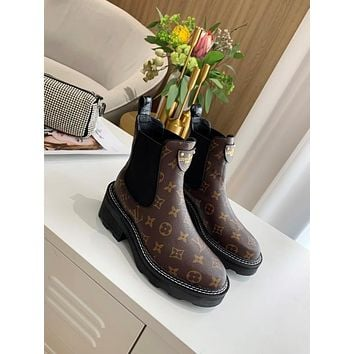 lv louis vuitton trending womens men leather side zip lace up ankle boots shoes high boots 80