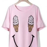 Pink Short Sleeve Tee with Smile Ice Cream Print Front