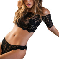2016 Lace Bra Panties Set Women's Black Thin Cup Sexy Breathable Lingerie Set Intimates Hollow Out Underwear Set  X3